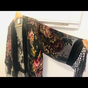 Free People Shimmy Fridge Velvet Kimono w/ Flowers